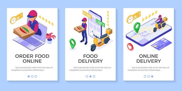 Snelle en gratis online eten bestellen en pakketbezorgservice. Premium Vector