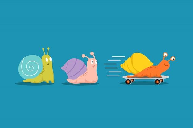 Snelle en langzame slakken. slak met wielen haalt anderen over in race. concurrentievoordelen bedrijfs vectorconcept Premium Vector