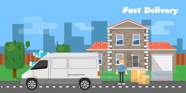 Snelle levering banner. commercieel voertuig. Premium Vector
