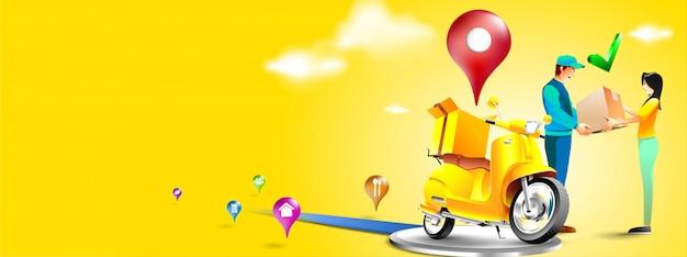 Snelle levering pakket per scooter op mobiele telefoon. bestelpakket in e-commerce per app. koerier pakket verzenden per motorfiets. driedimensionaal concept. vector illustratie Premium Vector