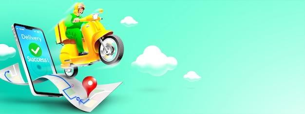 Snelle levering pakket per scooter op mobiele telefoon. bestelpakket in e-commerce per app. tracking koerier door kaart applicatie. driedimensionaal concept. vector illustratie Premium Vector