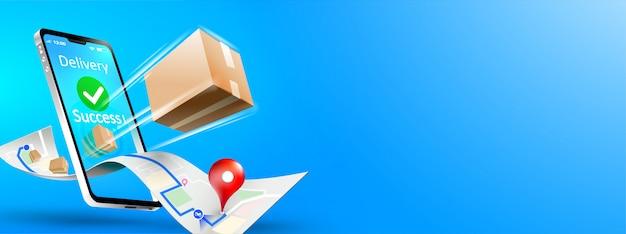 Snelle levering pakketverzending op mobiele smartphone Premium Vector