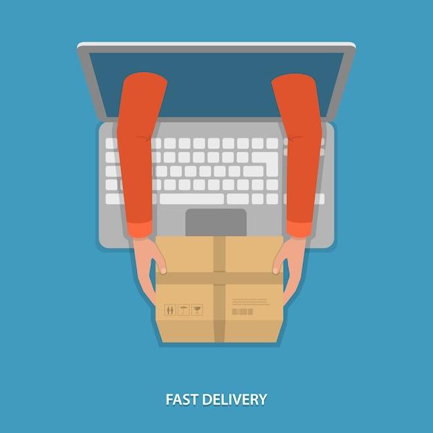 Snelle levering van goederen vectorillustratie. Premium Vector