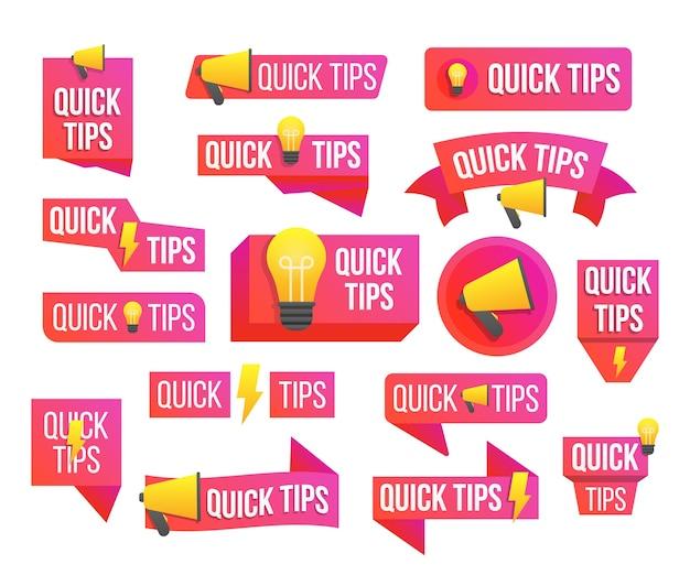 Snelle tips, handige trucs, tooltip, hint voor website. spraak bubbel. advies, bericht, badge. Premium Vector
