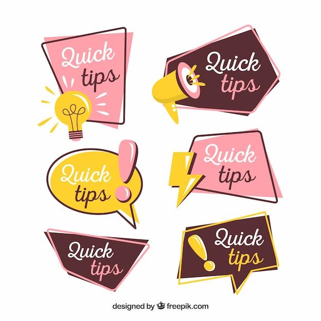 Snelle tips labelverzameling met plat ontwerp Gratis Vector