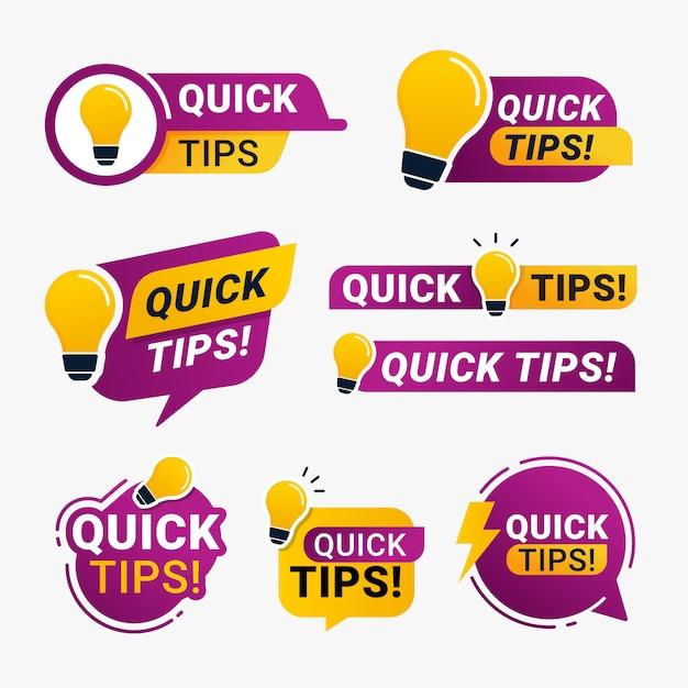 Snelle tips logobadge met geel gloeilamppictogram Premium Vector