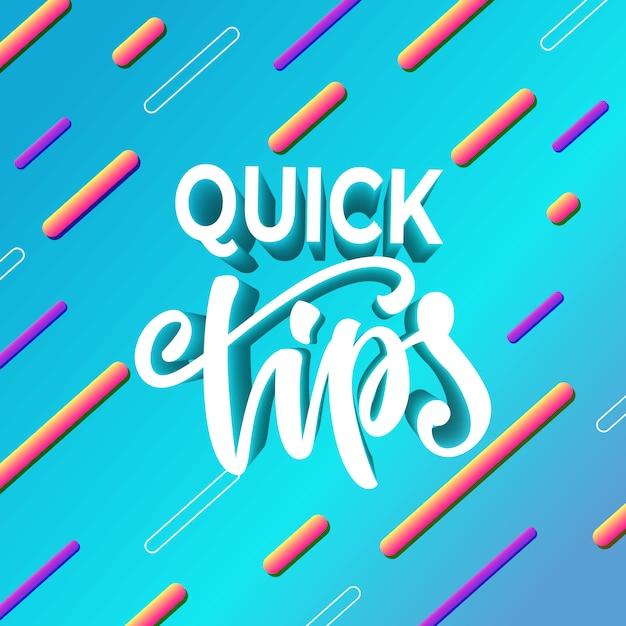 Snelle tips voor bannerontwerp. vector illustratie. Premium Vector