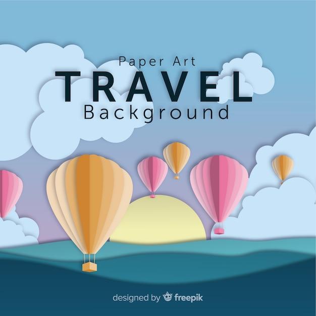 Snijd de reisachtergrond van hete luchtballons uit Gratis Vector