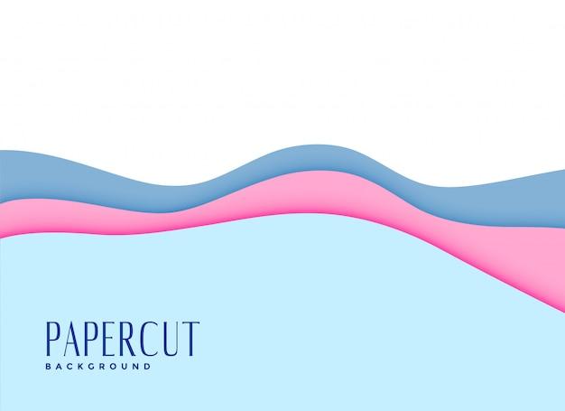 Snijd zachte babykleuren papercut achtergrond Gratis Vector