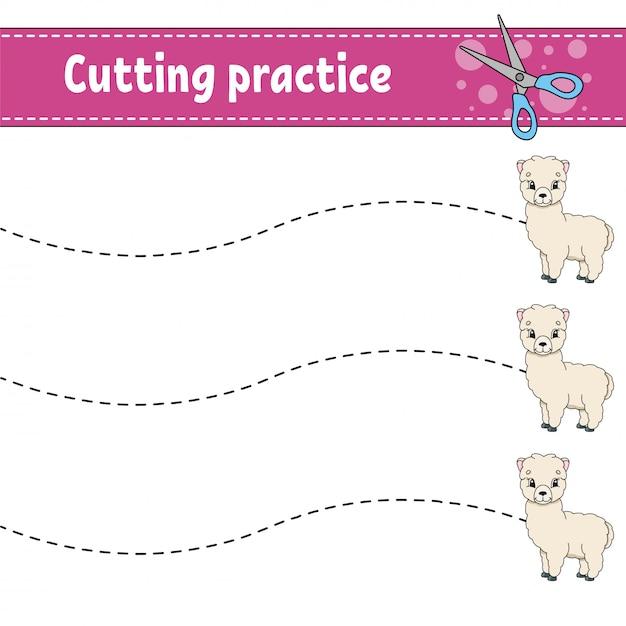 Snijoefening voor kinderen. dierlijke alpaca. onderwijs ontwikkelt werkblad. Premium Vector