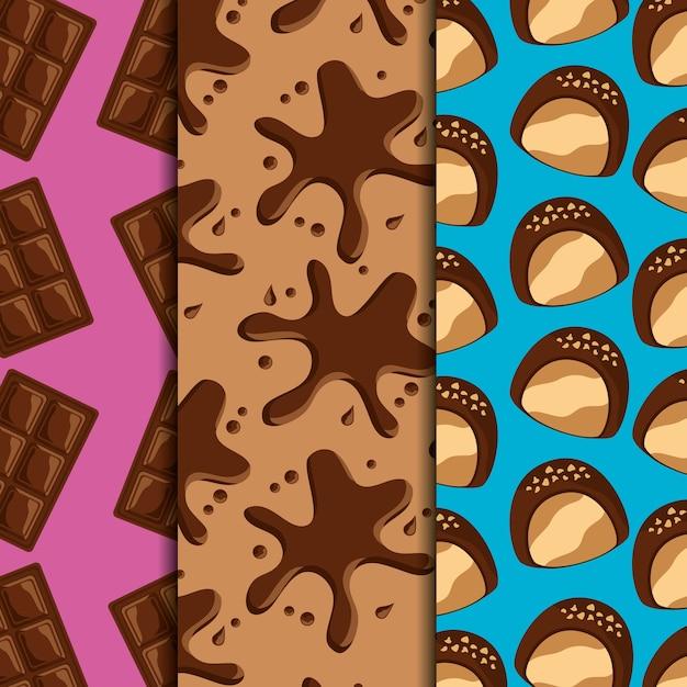 Snoep dessert voedsel chocoladerepen en splash druppels snoepjes verticale banners Premium Vector