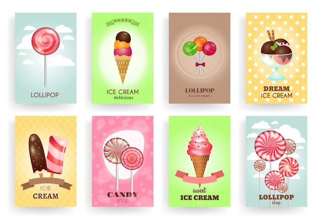 Snoepgoed, lollies en ijsjes. brochures sjablonen set. dessert en snoep, room en chocolade, ontwerp heerlijk smakelijk Gratis Vector