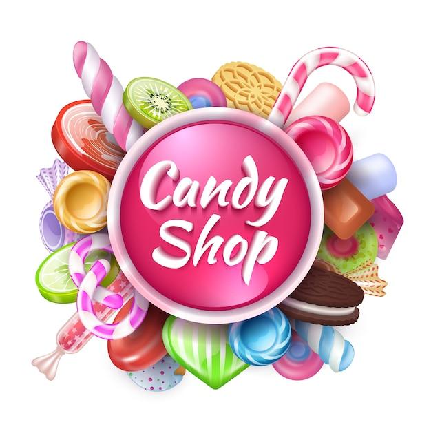 Snoepjes achtergrond. realistisch kader voor snoep en desserts met tekst, kleurrijke toffees, lollies en karamelbonbon Premium Vector