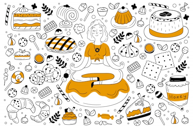 Snoepjes doodle set Premium Vector