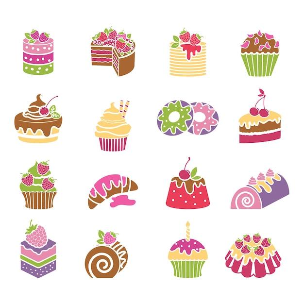 Snoepjes en desserts pictogrammen in lentekleuren. room en bakkerij, cakes en gebak, vectorillustratie Gratis Vector