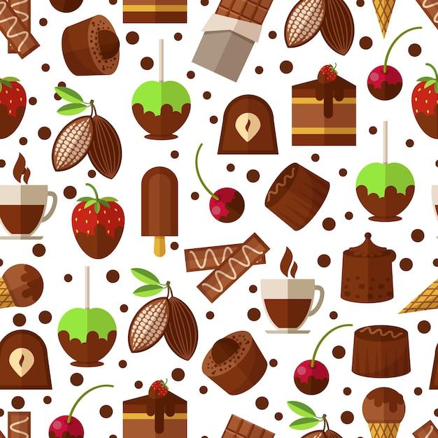 Snoepjes en suikergoed, chocolade en roomijs naadloos patroon Gratis Vector