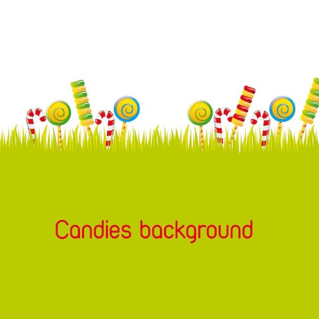 Snoepjes over silhouet gras achtergrond vectorillustratie Premium Vector