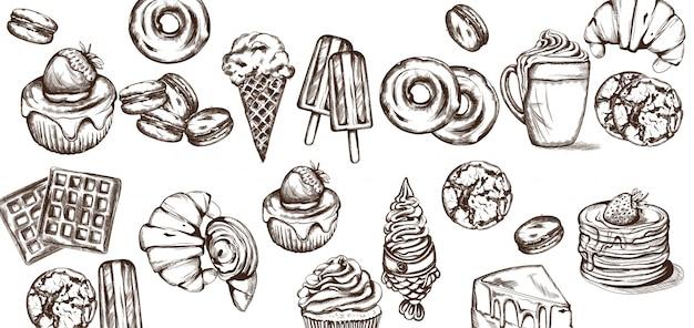 Snoepjes patroon collectie Premium Vector