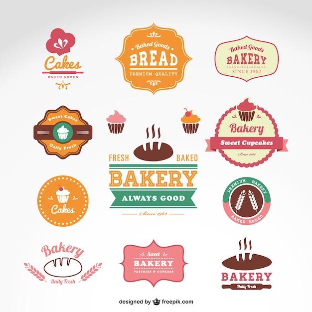 Snoepwinkel bakkerij vector badges Gratis Vector