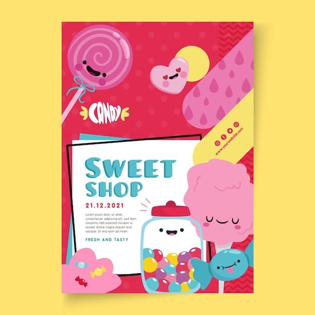 Snoepwinkel poster sjabloon met illustraties Gratis Vector
