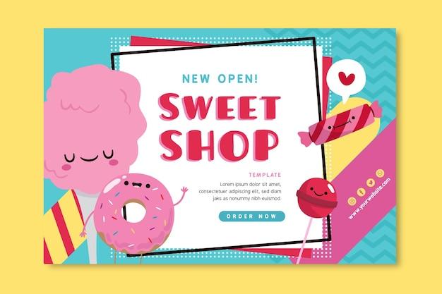 Snoepwinkel sjabloon voor spandoek met illustraties Gratis Vector