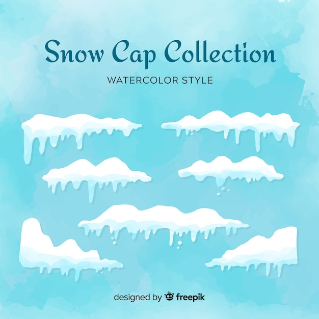 Snow cap-collectie Gratis Vector