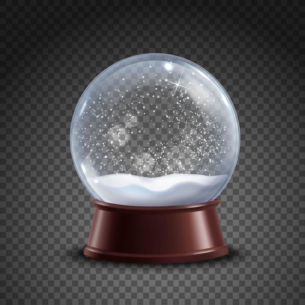 Snow globe-samenstelling Gratis Vector
