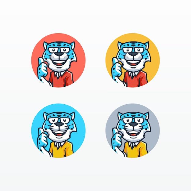 Snow leopard mascot set vector sjabloon Premium Vector