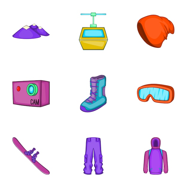Snowboard iconen set, cartoon stijl Premium Vector