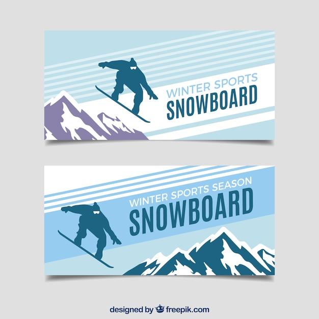 Snowboard wintersport concept banners Gratis Vector
