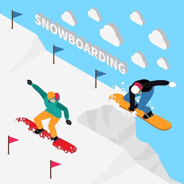 Snowboarden isometrisch Gratis Vector