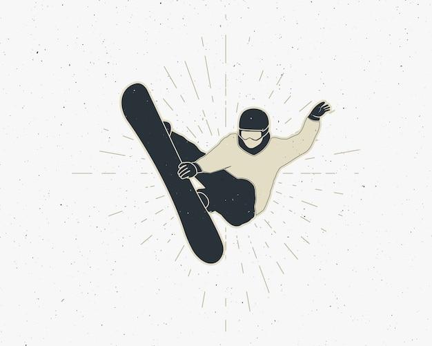 Snowboarden sticker vintage berg ontdekkingsreiziger label outdoor avontuur logo-ontwerp. Premium Vector
