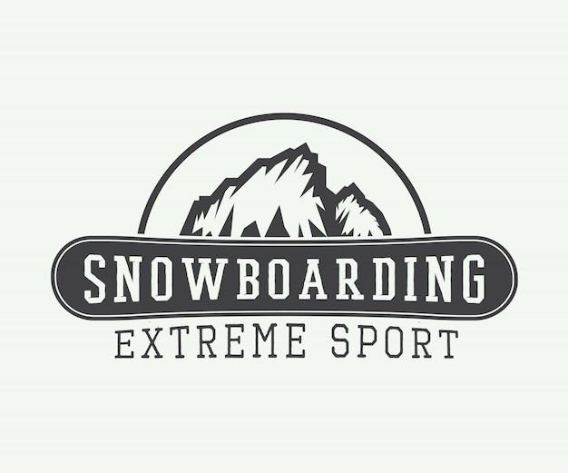 Snowboarding-logo, -badge, embleem Premium Vector