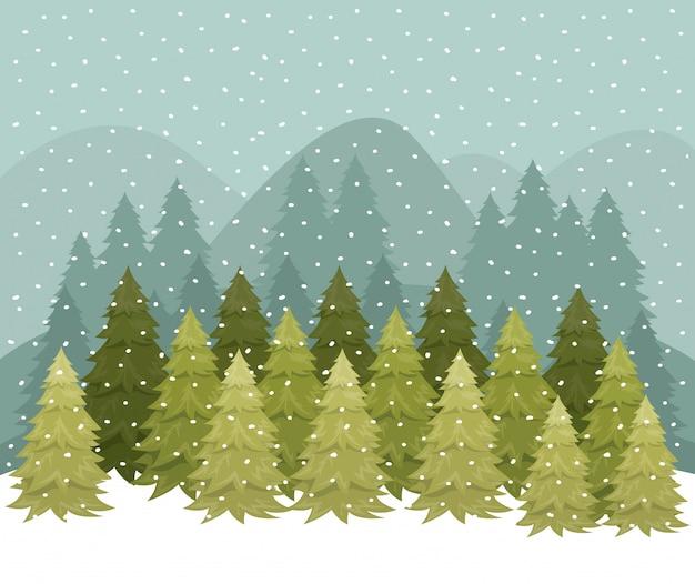 Snowscape met dennenbos scène Premium Vector