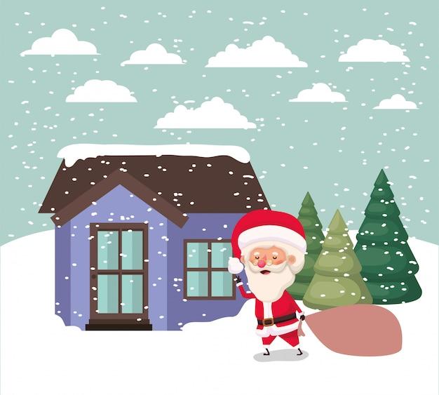 Snowscape met schattig huis en de scène van de kerstman Gratis Vector