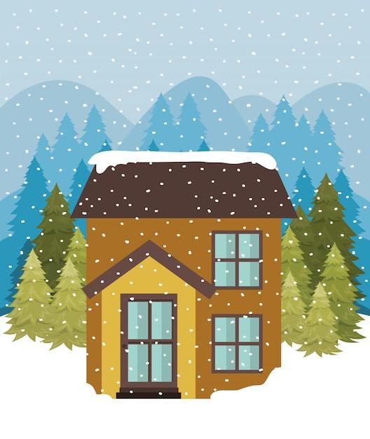 Snowscape met schattig huis Gratis Vector
