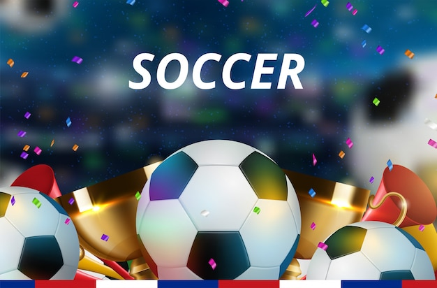 Soccer for sport bar kaartverkoop sportpromotie Premium Vector