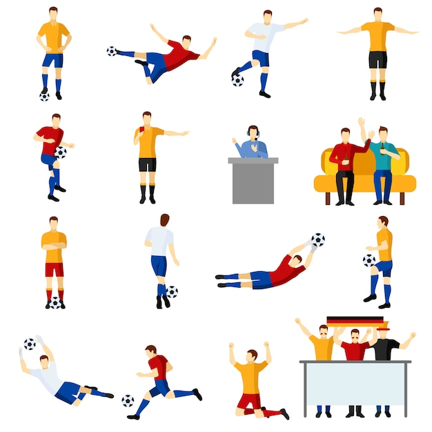 Soccer game mensen plat pictogrammen instellen Gratis Vector