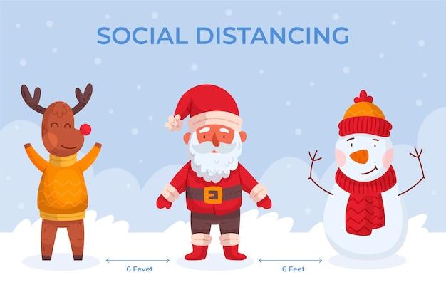 Sociaal afstand nemen met kerstkarakters Gratis Vector