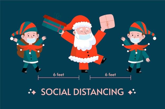 Sociaal afstandsconcept met kerstkarakters Gratis Vector