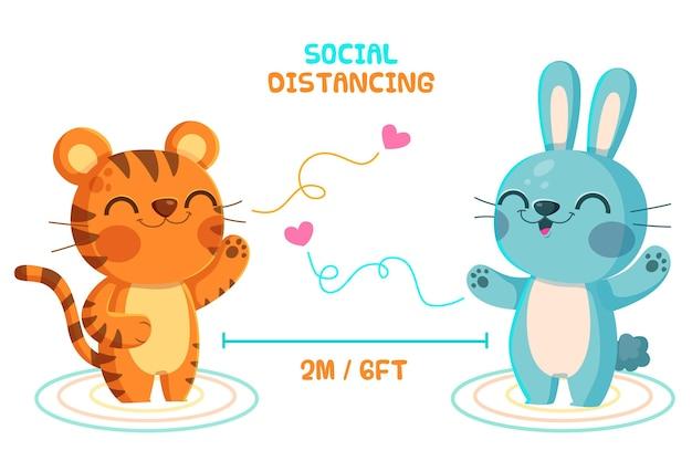 Sociaal afstandsconcept met schattige dieren Gratis Vector