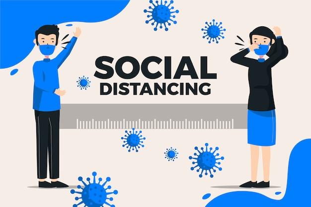 Sociaal afstandsconcept voor coronavirus Gratis Vector