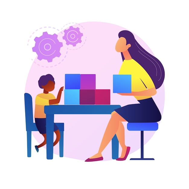 Sociaal-emotionele ontwikkeling abstracte concept illustratie. voorschoolse training, ontwikkeling van sociale vaardigheden in de vroege kinderjaren, emotioneel management, abstracte metafoor voor de trainingsactiviteit van kinderen. Gratis Vector