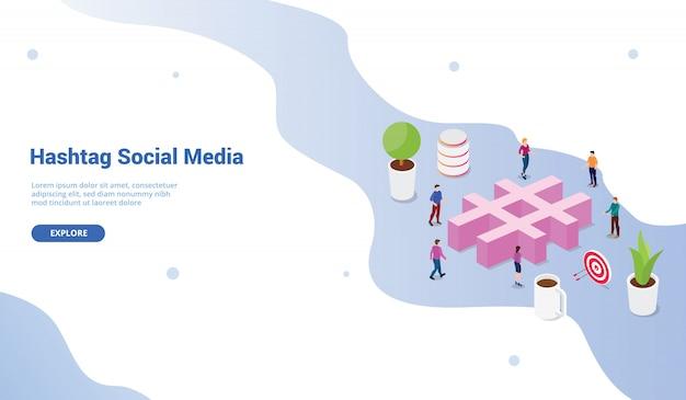 Sociaal media hashtag concept met menigtemensen voor websitemalplaatje of het landen van homepageontwerp Premium Vector