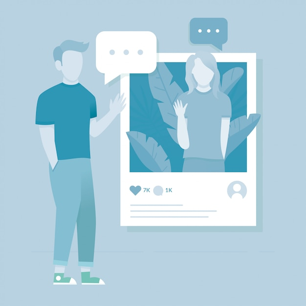 Sociaal media illustratie concept Premium Vector