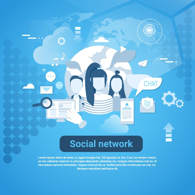 Sociaal netwerk communicatie webbanner met kopie ruimte op blauwe achtergrond Premium Vector