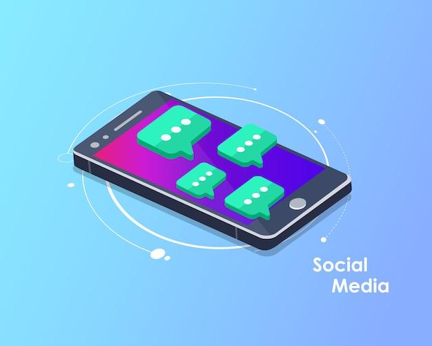 Sociaal netwerk en chatten isometrische vector Premium Vector