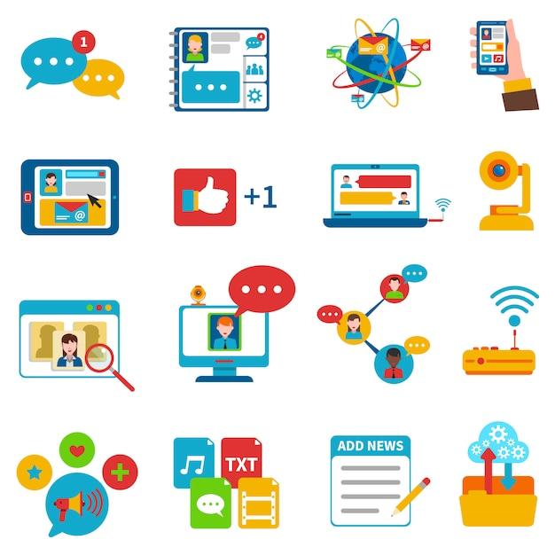 Sociaal netwerk pictogrammen instellen Gratis Vector