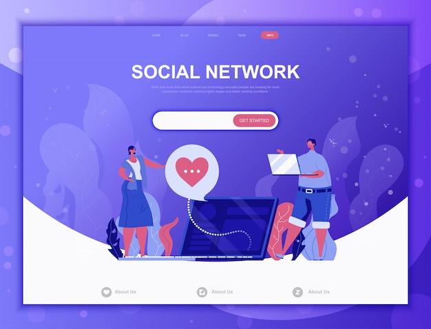 Sociaal netwerk platte concept, bestemmingspagina websjabloon Premium Vector