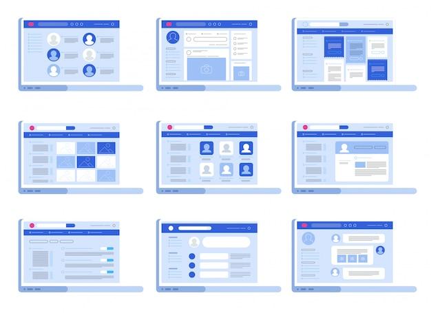 Sociaal netwerk web interface set Premium Vector